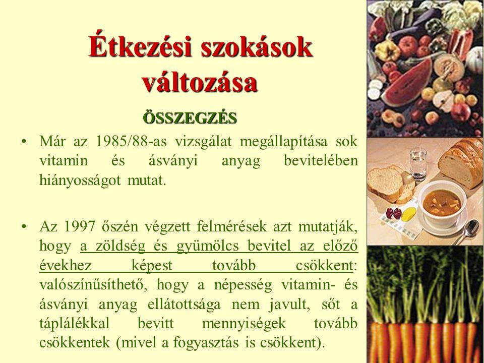 Étkezési szokások változása ÖSSZEGZÉS Már az 1985/88-as vizsgálat megállapítása sok vitamin és ásványi anyag bevitelében hiányosságot mutat.