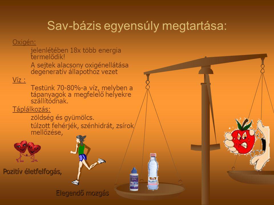 Sav-bázis egyensúly megtartása: Oxigén: jelenlétében 18x több energia termelődik.