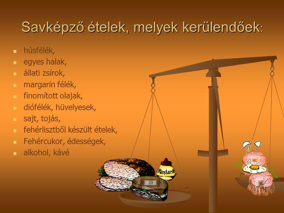 Savképző ételek, melyek kerülendőek : húsfélék, egyes halak, állati zsírok, margarin félék, finomított olajak, diófélék, hüvelyesek, sajt, tojás, fehérlisztből készült ételek, Fehércukor, édességek, alkohol, kávé
