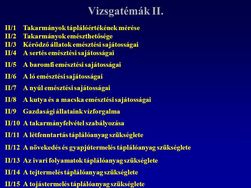 Vizsgatémák II. II/1 II/2 Takarmányok táplálóértékének mérése Takarmányok emészthetősége II/3 Kérődző állatok emésztési sajátosságai II/4A sertés emés