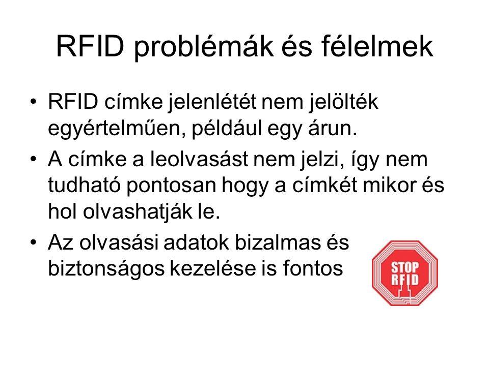 RFID problémák és félelmek RFID címke jelenlétét nem jelölték egyértelműen, például egy árun.