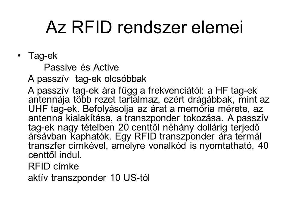 Az RFID rendszer elemei Tag-ek Passive és Active A passzív tag-ek olcsóbbak A passzív tag-ek ára függ a frekvenciától: a HF tag-ek antennája több rezet tartalmaz, ezért drágábbak, mint az UHF tag-ek.