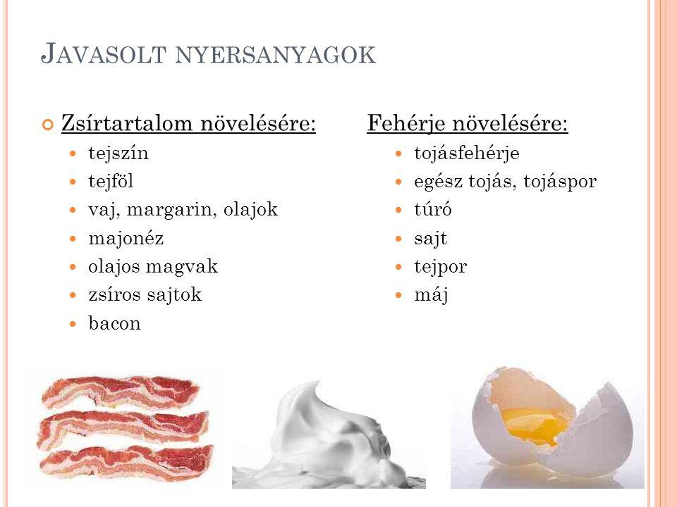 J AVASOLT NYERSANYAGOK Zsírtartalom növelésére: tejszín tejföl vaj, margarin, olajok majonéz olajos magvak zsíros sajtok bacon Fehérje növelésére: toj