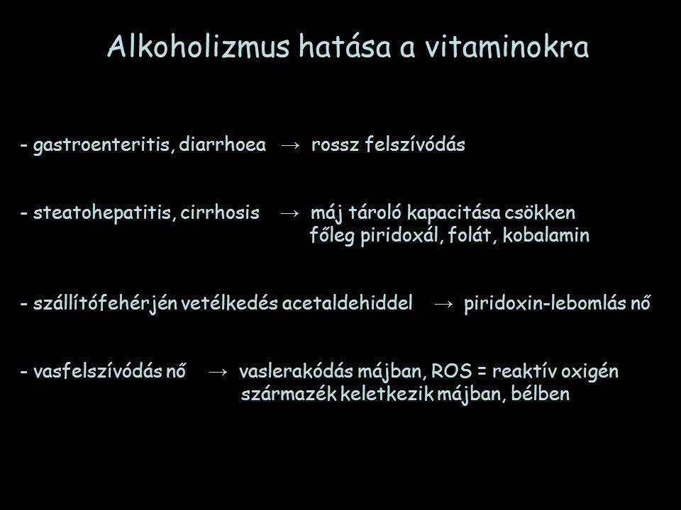 Alkoholizmus hatása a vitaminokra - gastroenteritis, diarrhoea → rossz felszívódás - steatohepatitis, cirrhosis → máj tároló kapacitása csökken főleg