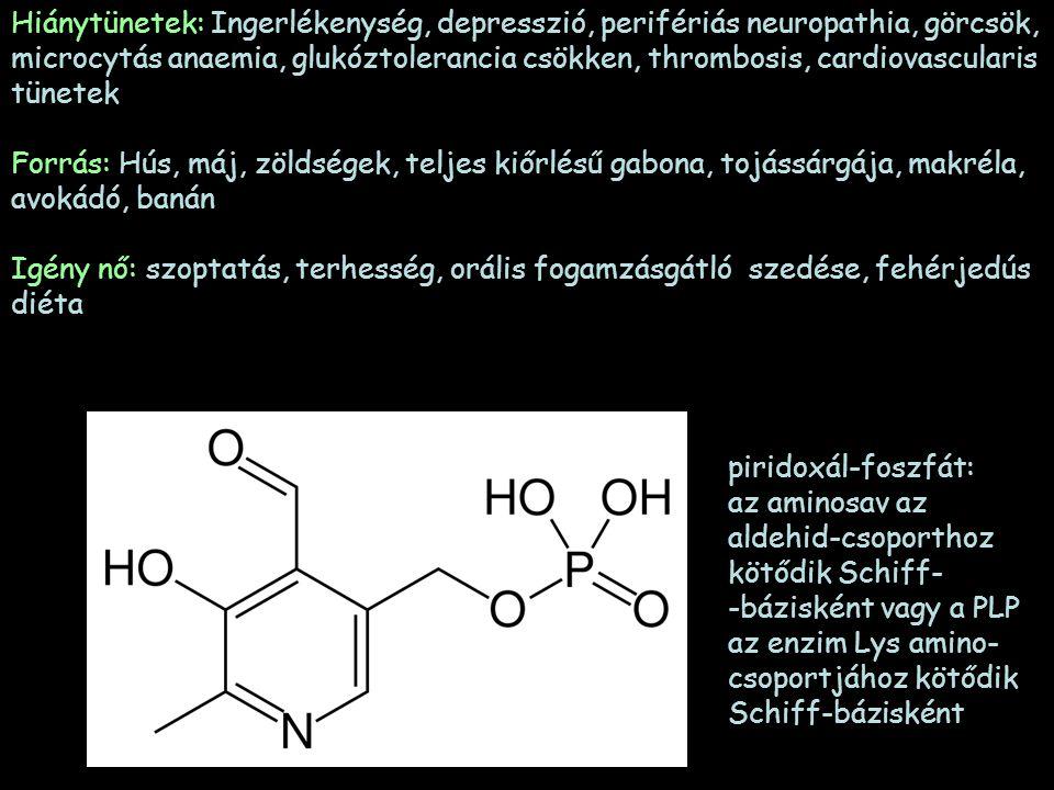 Hiánytünetek: Ingerlékenység, depresszió, perifériás neuropathia, görcsök, microcytás anaemia, glukóztolerancia csökken, thrombosis, cardiovascularis