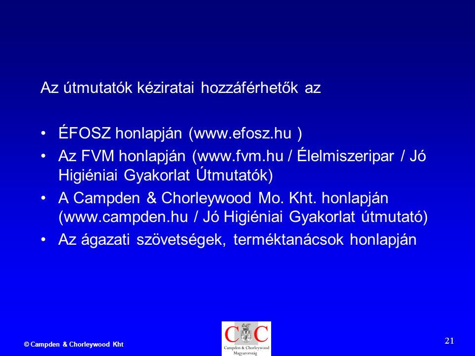 © Campden & Chorleywood Kht 21 Az útmutatók kéziratai hozzáférhetők az ÉFOSZ honlapján (www.efosz.hu ) Az FVM honlapján (www.fvm.hu / Élelmiszeripar / Jó Higiéniai Gyakorlat Útmutatók) A Campden & Chorleywood Mo.