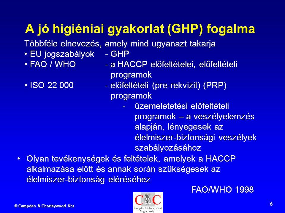 © Campden & Chorleywood Kht 6 A jó higiéniai gyakorlat (GHP) fogalma Olyan tevékenységek és feltételek, amelyek a HACCP alkalmazása előtt és annak során szükségesek az élelmiszer-biztonság eléréséhez FAO/WHO 1998 Többféle elnevezés, amely mind ugyanazt takarja EU jogszabályok- GHP FAO / WHO- a HACCP előfeltételei, előfeltételi programok ISO 22 000- előfeltételi (pre-rekvizit) (PRP) programok -üzemeletetési előfeltételi programok – a veszélyelemzés alapján, lényegesek az élelmiszer-biztonsági veszélyek szabályozásához