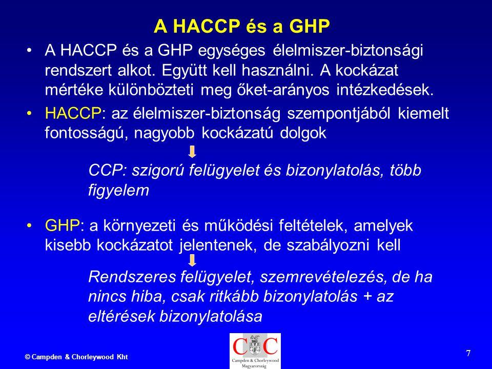 © Campden & Chorleywood Kht 7 A HACCP és a GHP A HACCP és a GHP egységes élelmiszer-biztonsági rendszert alkot.