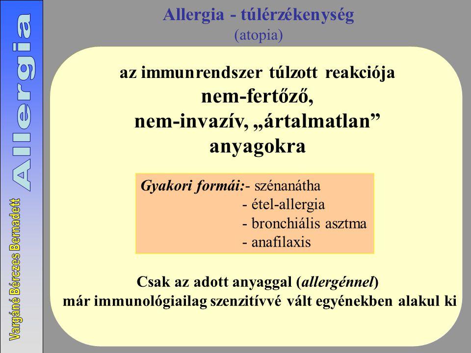 """Allergia - túlérzékenység (atopia) Csak az adott anyaggal (allergénnel) már immunológiailag szenzitívvé vált egyénekben alakul ki Gyakori formái:- szénanátha - étel-allergia - bronchiális asztma - anafilaxis az immunrendszer túlzott reakciója nem-fertőző, nem-invazív, """"ártalmatlan anyagokra"""