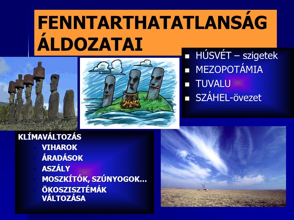 FENNTARTHATATLANSÁG ÁLDOZATAI HÚSVÉT – szigetek HÚSVÉT – szigetek MEZOPOTÁMIA MEZOPOTÁMIA TUVALU TUVALU SZÁHEL-övezet SZÁHEL-övezet KLÍMAVÁLTOZÁS VIHAROKVIHAROK ÁRADÁSOKÁRADÁSOK ASZÁLYASZÁLY MOSZKÍTÓK, SZÚNYOGOK…MOSZKÍTÓK, SZÚNYOGOK… ÖKOSZISZTÉMÁK VÁLTOZÁSAÖKOSZISZTÉMÁK VÁLTOZÁSA