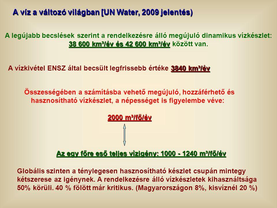 A víz a változó világban [UN Water, 2009 jelentés) Összességében a számításba vehető megújuló, hozzáférhető és hasznosítható vízkészlet, a népességet
