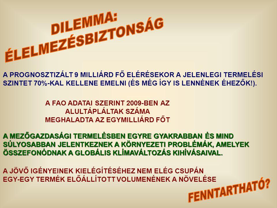 A PROGNOSZTIZÁLT 9 MILLIÁRD FŐ ELÉRÉSEKOR A JELENLEGI TERMELÉSI SZINTET 70%-KAL KELLENE EMELNI (ÉS MÉG ÍGY IS LENNÉNEK ÉHEZŐK!). A FAO ADATAI SZERINT
