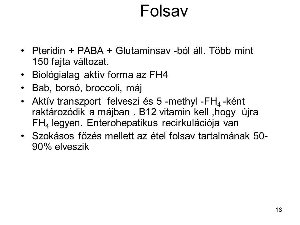 18 Folsav Pteridin + PABA + Glutaminsav -ból áll. Több mint 150 fajta változat. Biológialag aktív forma az FH4 Bab, borsó, broccoli, máj Aktív transzp