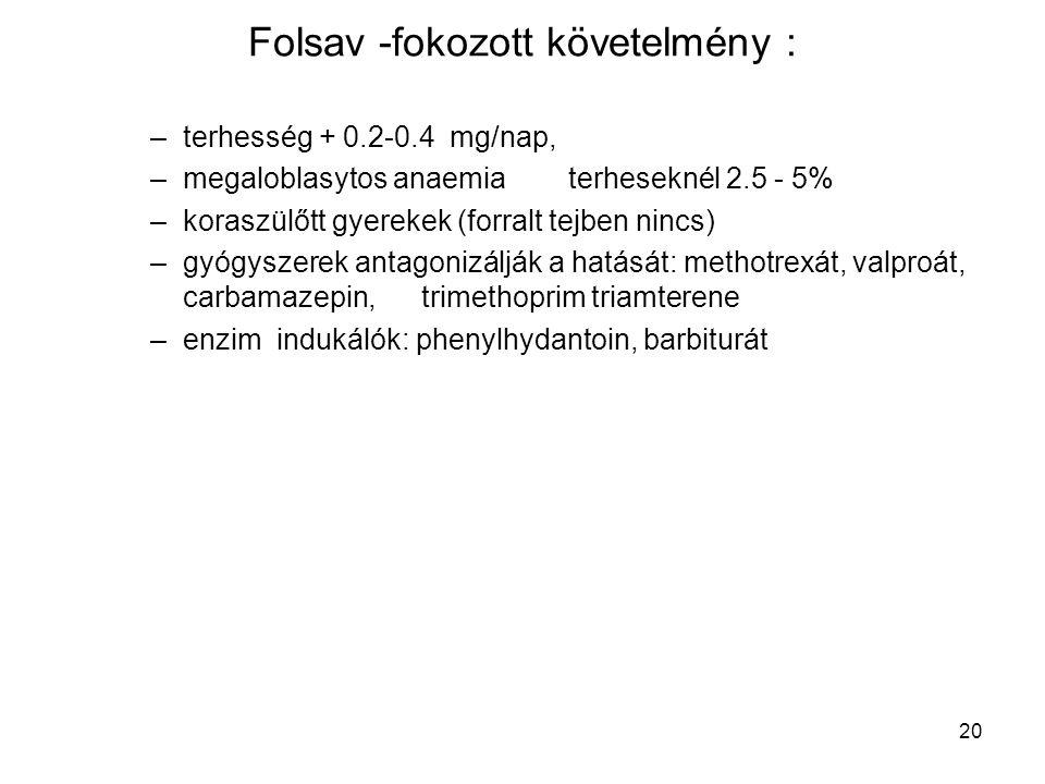 20 Folsav -fokozott követelmény : –terhesség + 0.2-0.4 mg/nap, –megaloblasytos anaemia terheseknél 2.5 - 5% –koraszülőtt gyerekek (forralt tejben ninc