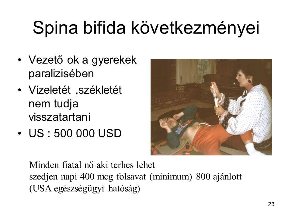 23 Spina bifida következményei Vezető ok a gyerekek paralizisében Vizeletét,székletét nem tudja visszatartani US : 500 000 USD Minden fiatal nő aki te