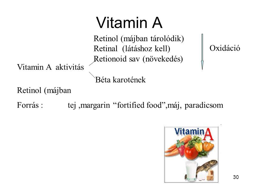 """30 Vitamin A Vitamin A aktivitás Retinol (májban tárolódik) Retinal (látáshoz kell) Retionoid sav (növekedés) Béta karotének Forrás : tej,margarin """"fo"""