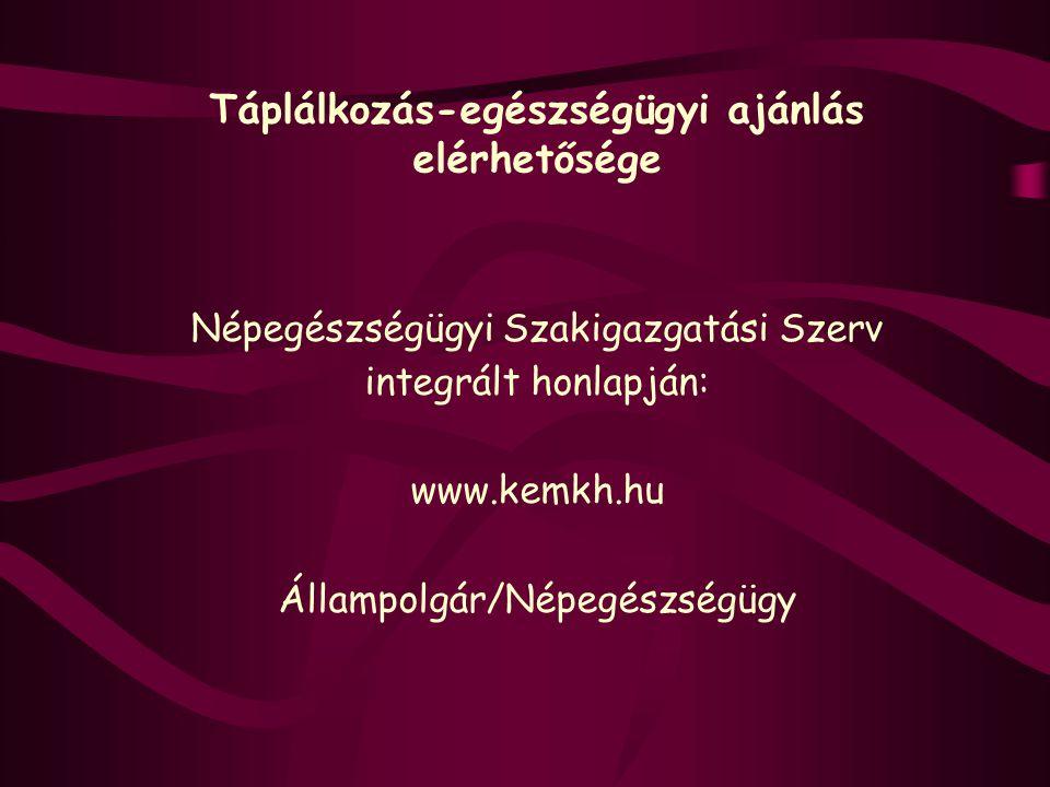 Táplálkozás-egészségügyi ajánlás elérhetősége Népegészségügyi Szakigazgatási Szerv integrált honlapján: www.kemkh.hu Állampolgár/Népegészségügy
