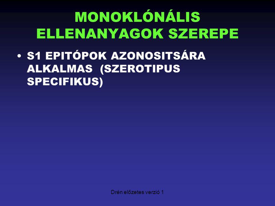 Drén előzetes verzió 1 MONOKLÓNÁLIS ELLENANYAGOK SZEREPE S1 EPITÓPOK AZONOSITSÁRA ALKALMAS (SZEROTIPUS SPECIFIKUS)