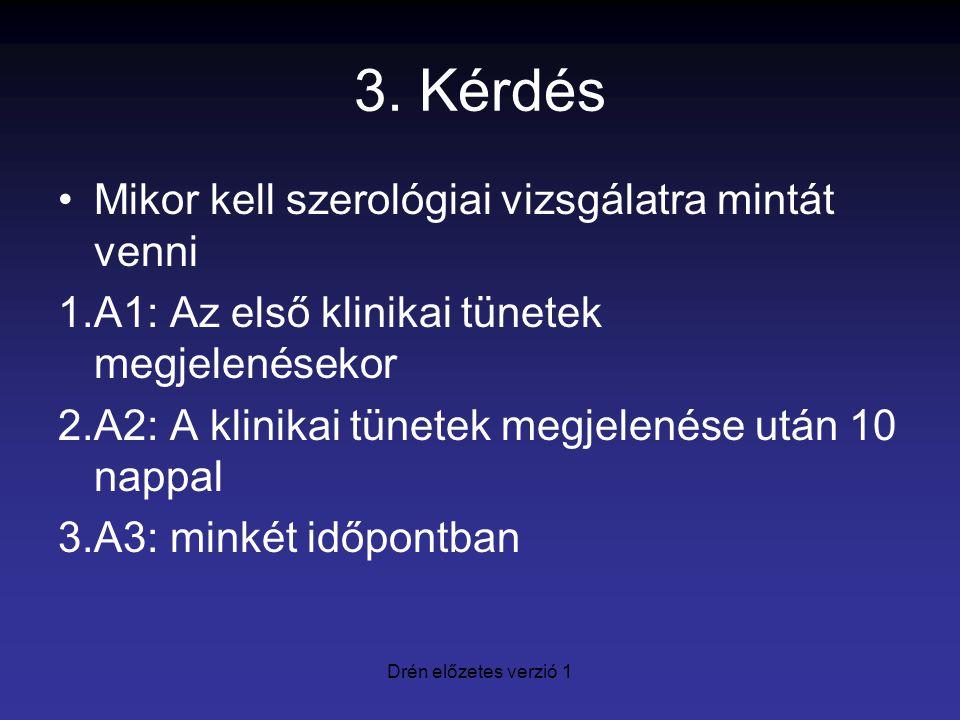 3. Kérdés Mikor kell szerológiai vizsgálatra mintát venni 1.A1: Az első klinikai tünetek megjelenésekor 2.A2: A klinikai tünetek megjelenése után 10 n