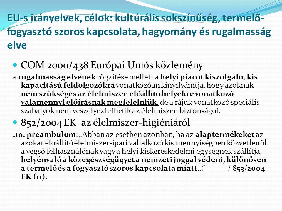 Helyes Higiéniai Gyakorlat (GHP) Értékesítési célból, a magánlakóházi szintű élelmiszer- előállítókra vonatkozóan, a 852/2004/EK európai parlamenti és tanácsi rendelet II.