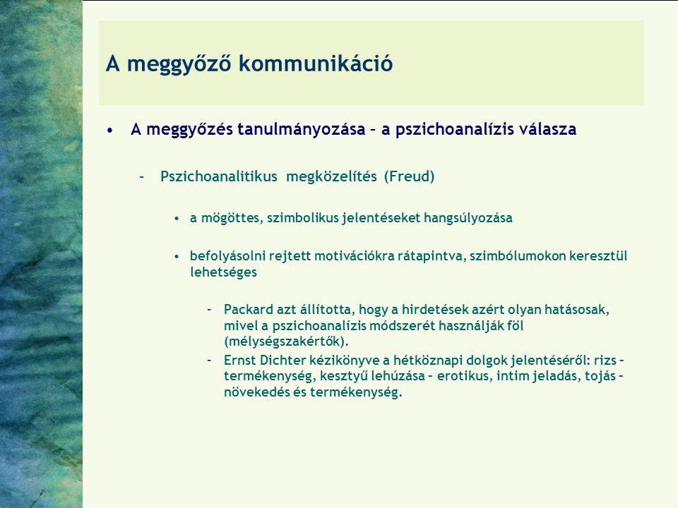 A meggyőző kommunikáció A meggyőzés tanulmányozása – a pszichoanalízis válasza –Pszichoanalitikus megközelítés (Freud) a mögöttes, szimbolikus jelenté