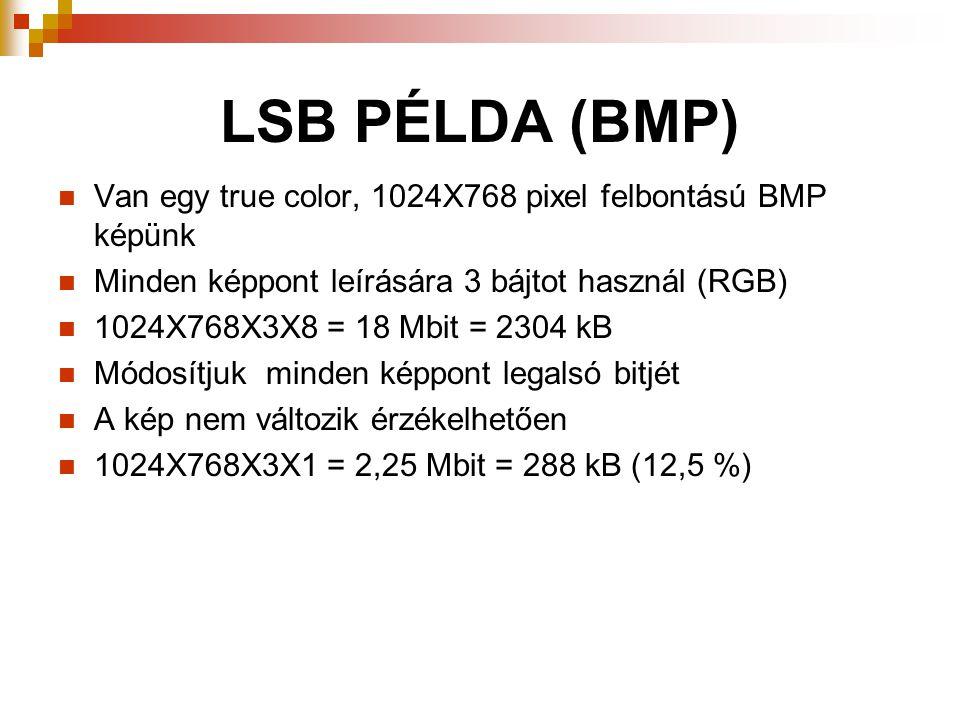 LSB PÉLDA (BMP) Van egy true color, 1024X768 pixel felbontású BMP képünk Minden képpont leírására 3 bájtot használ (RGB) 1024X768X3X8 = 18 Mbit = 2304 kB Módosítjuk minden képpont legalsó bitjét A kép nem változik érzékelhetően 1024X768X3X1 = 2,25 Mbit = 288 kB (12,5 %)