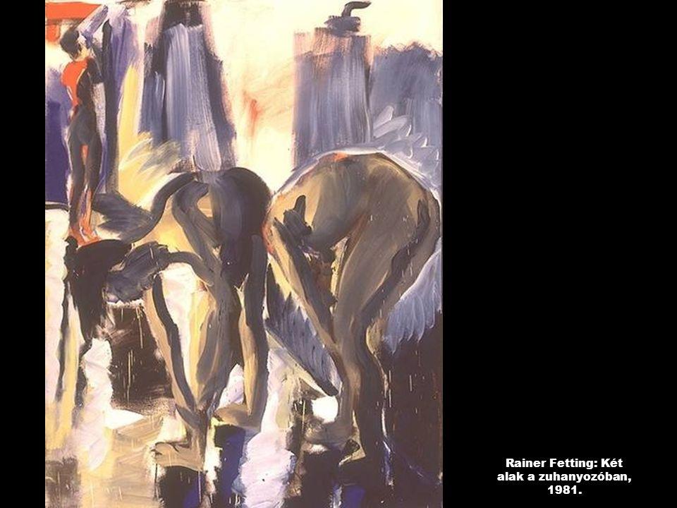 Rainer Fetting: Két alak a zuhanyozóban, 1981.