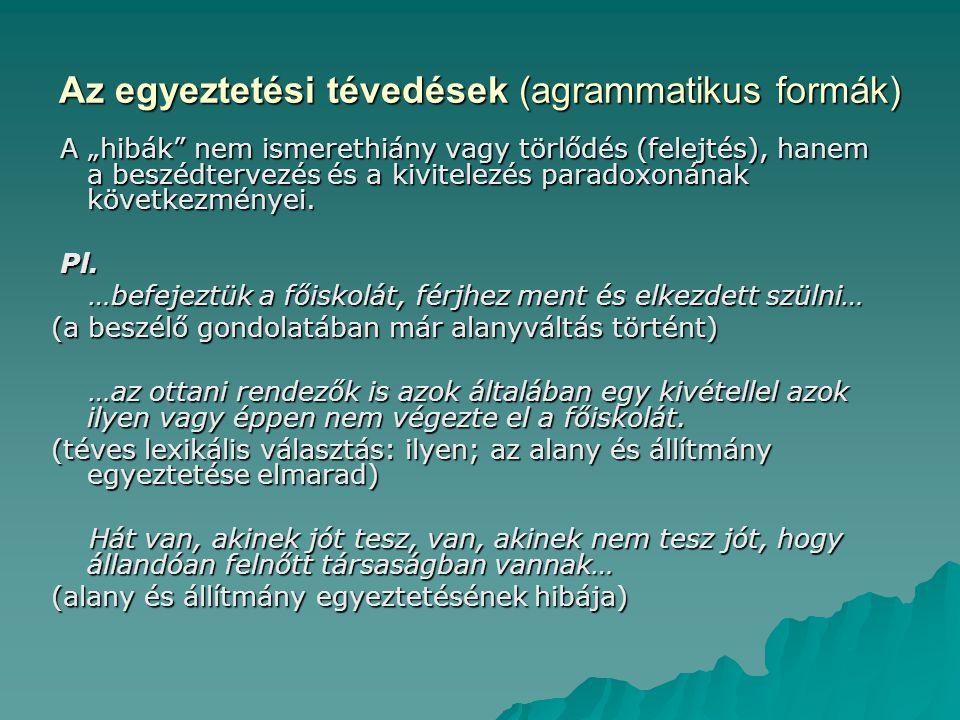 """Az egyeztetési tévedések (agrammatikus formák) A """"hibák"""" nem ismerethiány vagy törlődés (felejtés), hanem a beszédtervezés és a kivitelezés paradoxoná"""