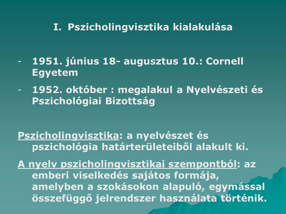 I.Pszicholingvisztika kialakulása -1951. június 18- augusztus 10.: Cornell Egyetem -1952. október : megalakul a Nyelvészeti és Pszichológiai Bizottság