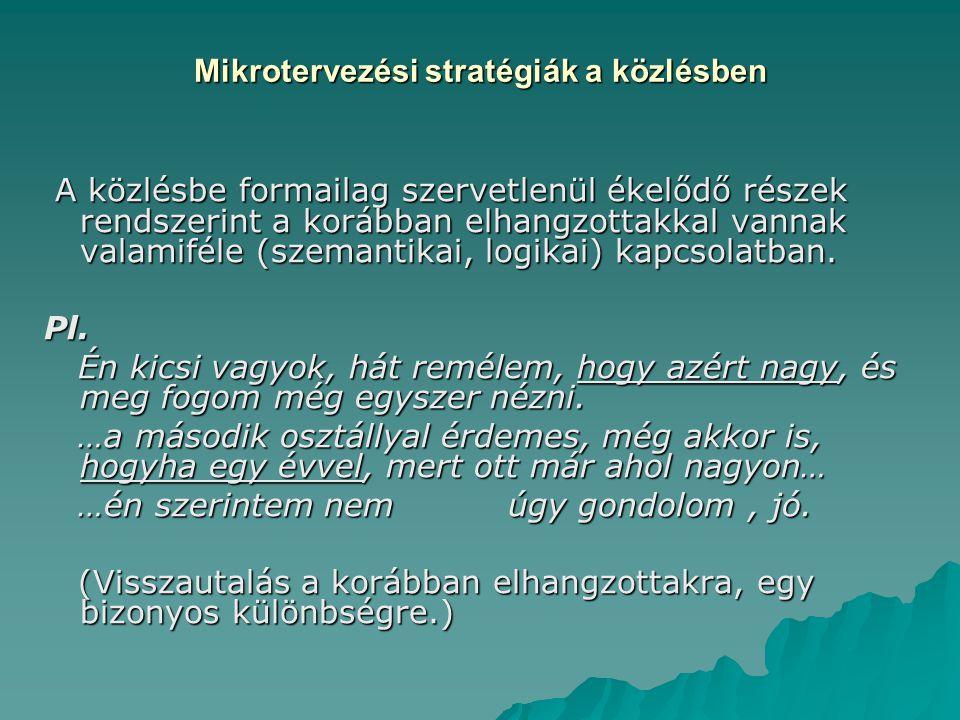 Mikrotervezési stratégiák a közlésben A közlésbe formailag szervetlenül ékelődő részek rendszerint a korábban elhangzottakkal vannak valamiféle (szema
