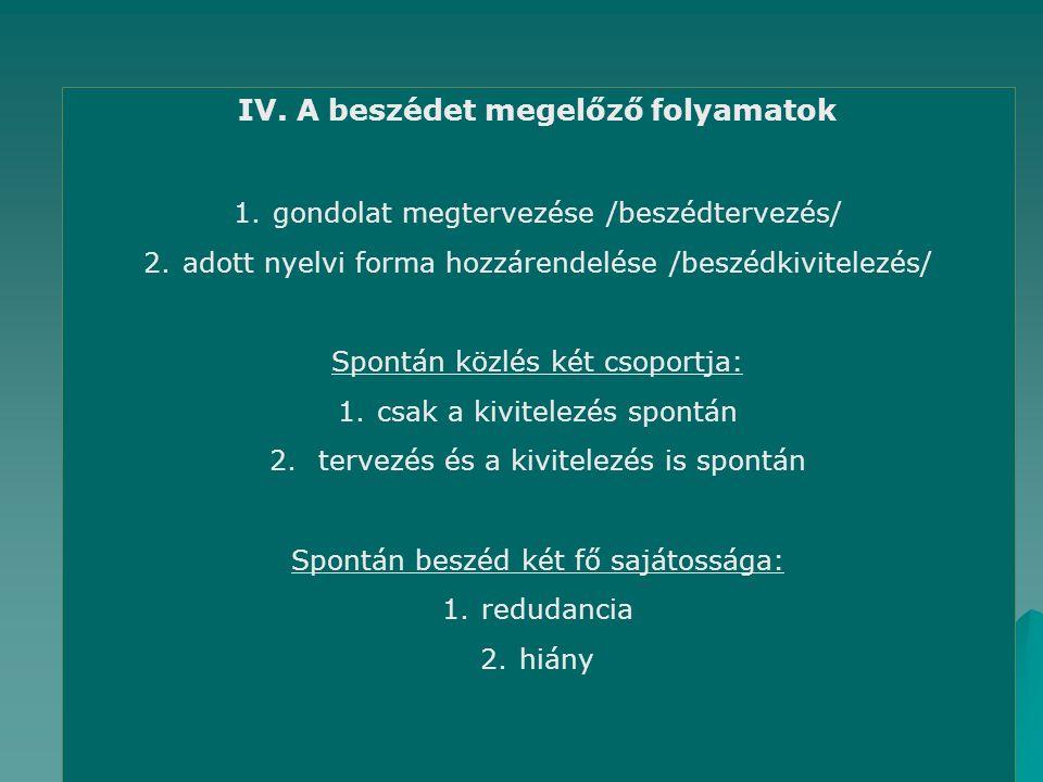 IV. A beszédet megelőző folyamatok 1.gondolat megtervezése /beszédtervezés/ 2.adott nyelvi forma hozzárendelése /beszédkivitelezés/ Spontán közlés két