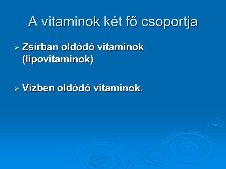 A vitaminok két fő csoportja  Zsírban oldódó vitaminok (lipovitaminok)  Vízben oldódó vitaminok.