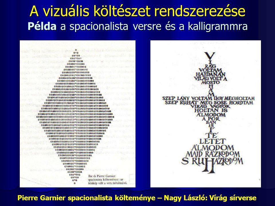 A vizuális költészet rendszerezése Példa a spacionalista versre és a kalligrammra Pierre Garnier spacionalista költeménye – Nagy László: Vírág sírvers