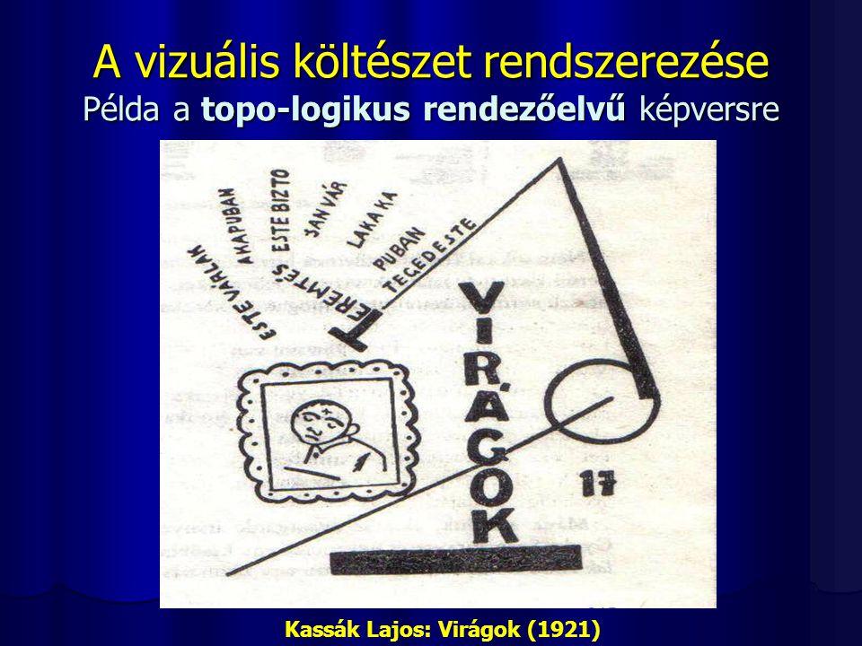 A vizuális költészet rendszerezése Példa a topo-logikus rendezőelvű képversre Kassák Lajos: Virágok (1921)