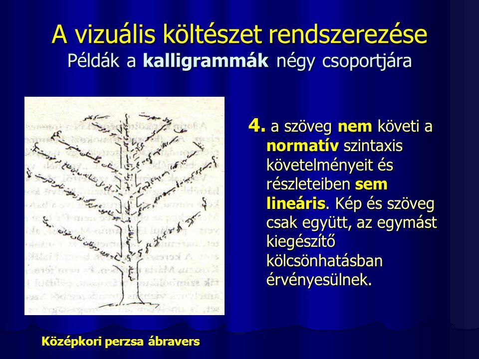 A vizuális költészet rendszerezése Példák a kalligrammák négy csoportjára 4. a szöveg nem követi a normatív szintaxis követelményeit és részleteiben s