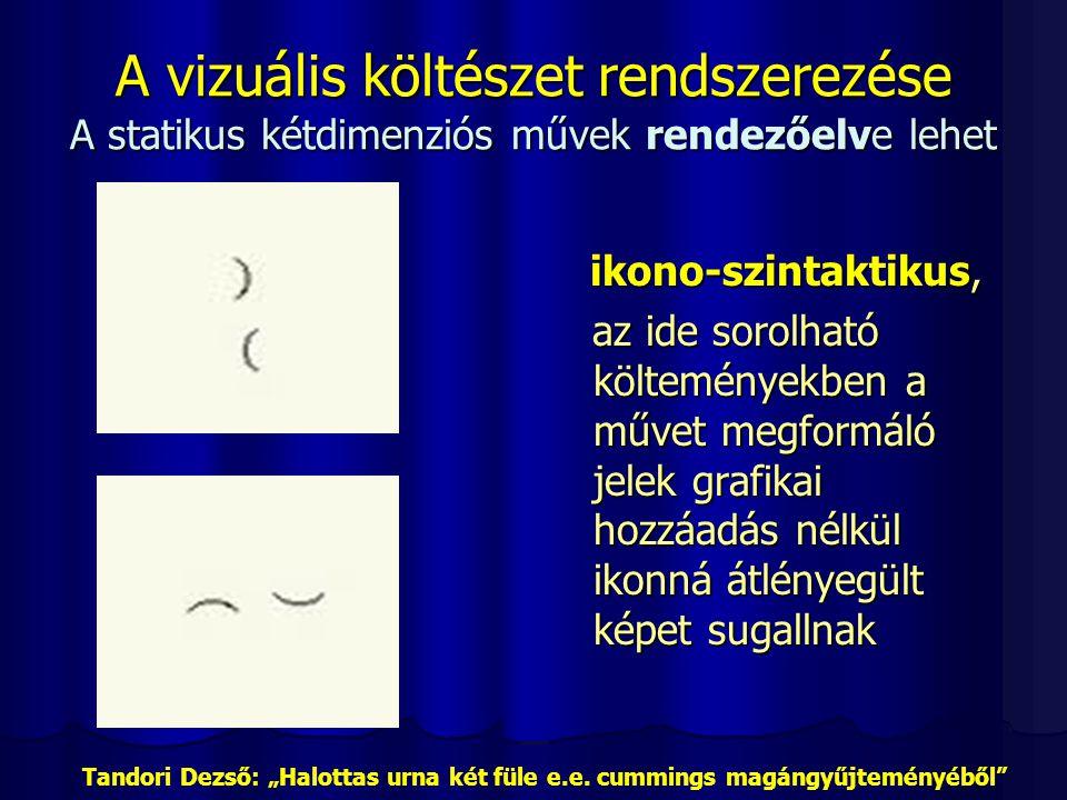 A vizuális költészet rendszerezése A statikus kétdimenziós művek rendezőelve lehet ikono-szintaktikus, ikono-szintaktikus, az ide sorolható költeménye