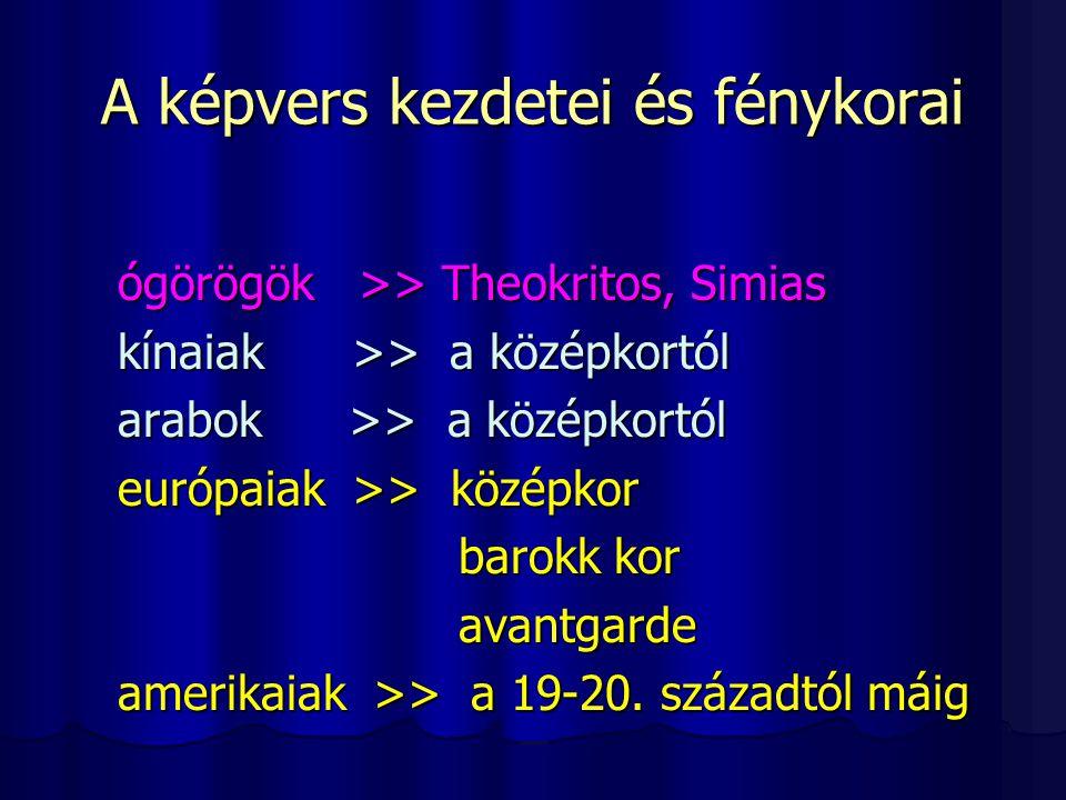 A vizuális költészet rendszerezése Példák a kalligrammák négy csoportjára 3.