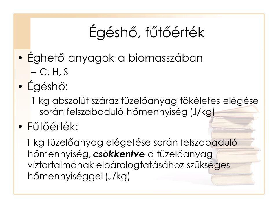 Fa és más lignocellulózok fűtőértéke légszáraz állapotban MegnevezésA légszáraz melléktermék fűtőértéke GJ/t = MJ/kg Szalma13,0-14,2 Kukoricaszár10,5-12,5 Napraforgószár8,0-10,0 Erdei apríték12,0-14,5 Faipari hulladék13,0-16,0 Szőlőnyesedék10,5-12,5 Gyümölcsfanyesedék10,0-11,0
