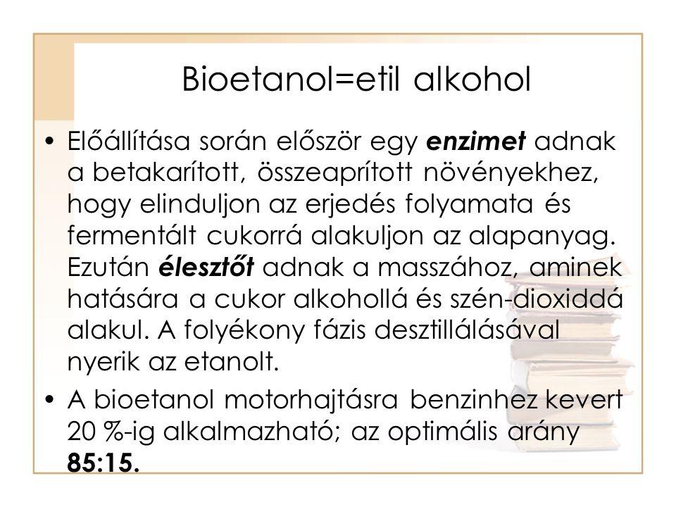 Bioetanol A tiszta bioetanol is alkalmas üzemanyagként, de ehhez a belsőégésű motorokat át kell alakítani és az üzemanyagtartályt is meg kell növelni, mert az etanol energiatartalma kisebb a benzinénél (1 liter etanol = 0,65 liter benzin), ezért ugyanakkora távolság megtételéhez több etanol kell, mint benzin.