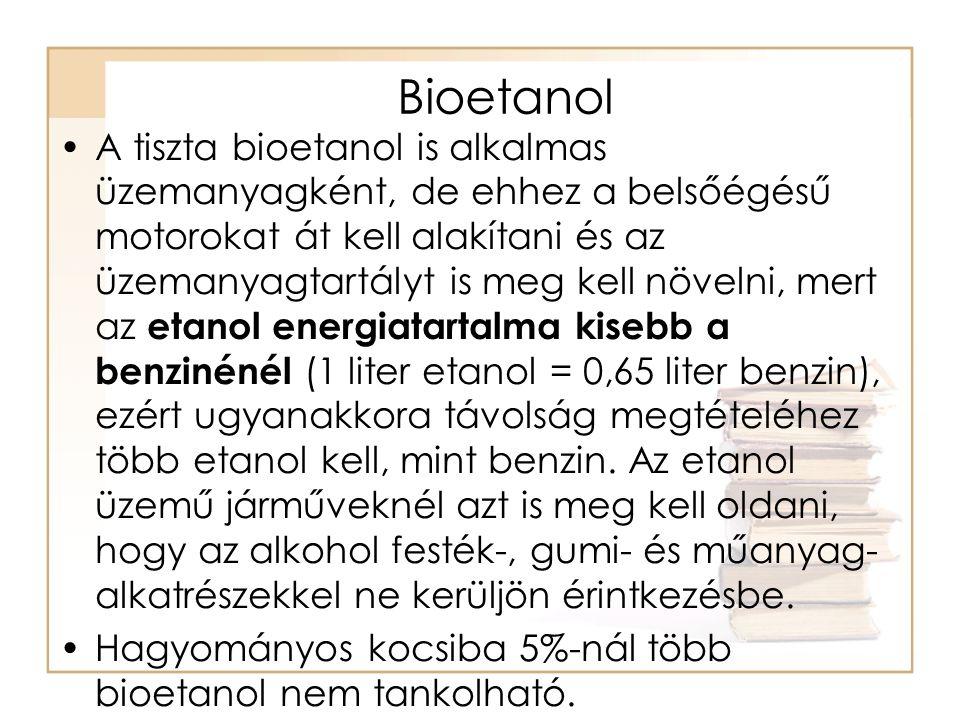 Bioetanol Mo-on 400 töltőállomáson E-85 árusítás Bioetanollal 20-30 %-os túlfogyasztás.