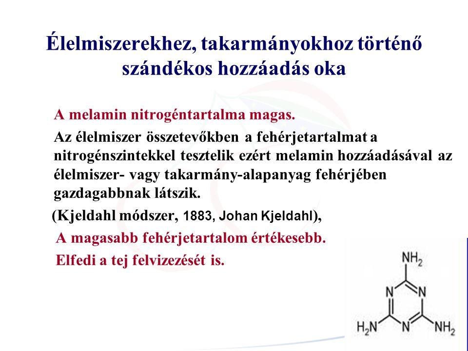Élelmiszerekhez, takarmányokhoz történő szándékos hozzáadás oka A melamin nitrogéntartalma magas. Az élelmiszer összetevőkben a fehérjetartalmat a nit