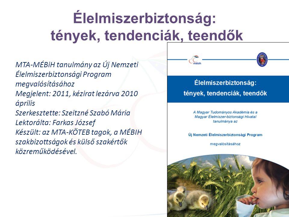 Élelmiszerbiztonság: tények, tendenciák, teendők MTA-MÉBiH tanulmány az Új Nemzeti Élelmiszerbiztonsági Program megvalósításához Megjelent: 2011, kézi