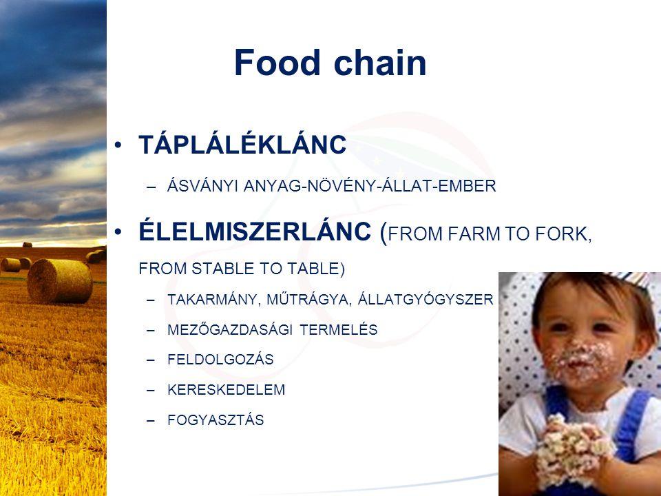 Food chain TÁPLÁLÉKLÁNC –ÁSVÁNYI ANYAG-NÖVÉNY-ÁLLAT-EMBER ÉLELMISZERLÁNC ( FROM FARM TO FORK, FROM STABLE TO TABLE) –TAKARMÁNY, MŰTRÁGYA, ÁLLATGYÓGYSZ