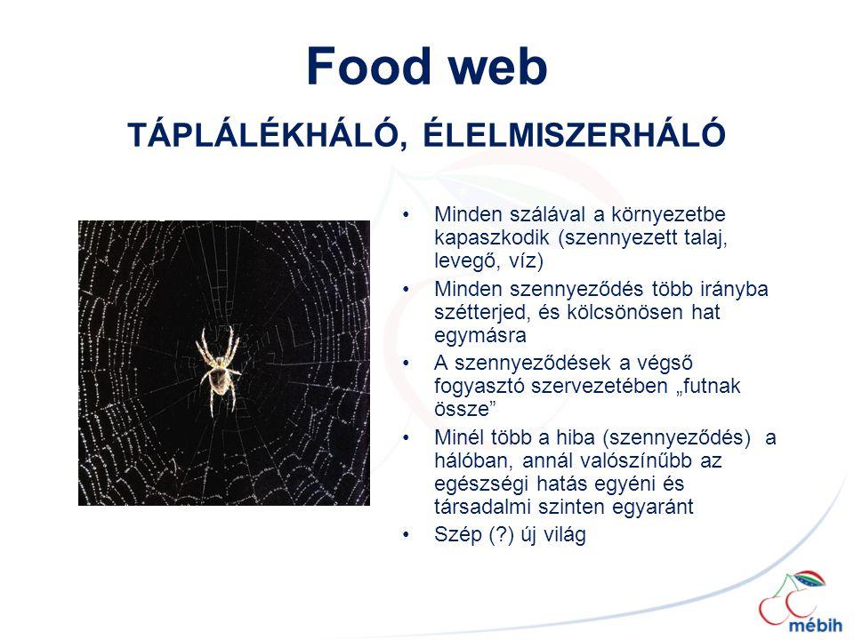 Food web TÁPLÁLÉKHÁLÓ, ÉLELMISZERHÁLÓ Minden szálával a környezetbe kapaszkodik (szennyezett talaj, levegő, víz) Minden szennyeződés több irányba szét
