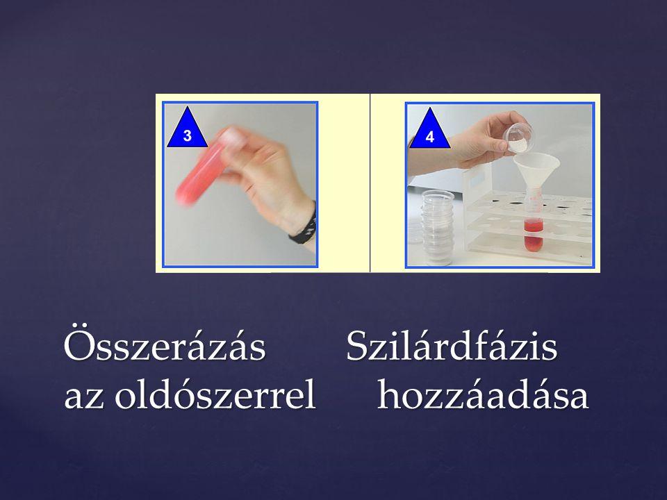 Összerázás Szilárdfázis az oldószerrel hozzáadása