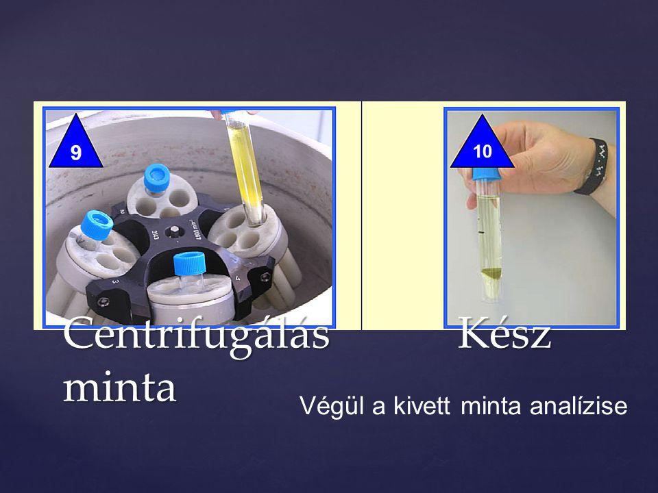 Centrifugálás Kész minta Végül a kivett minta analízise