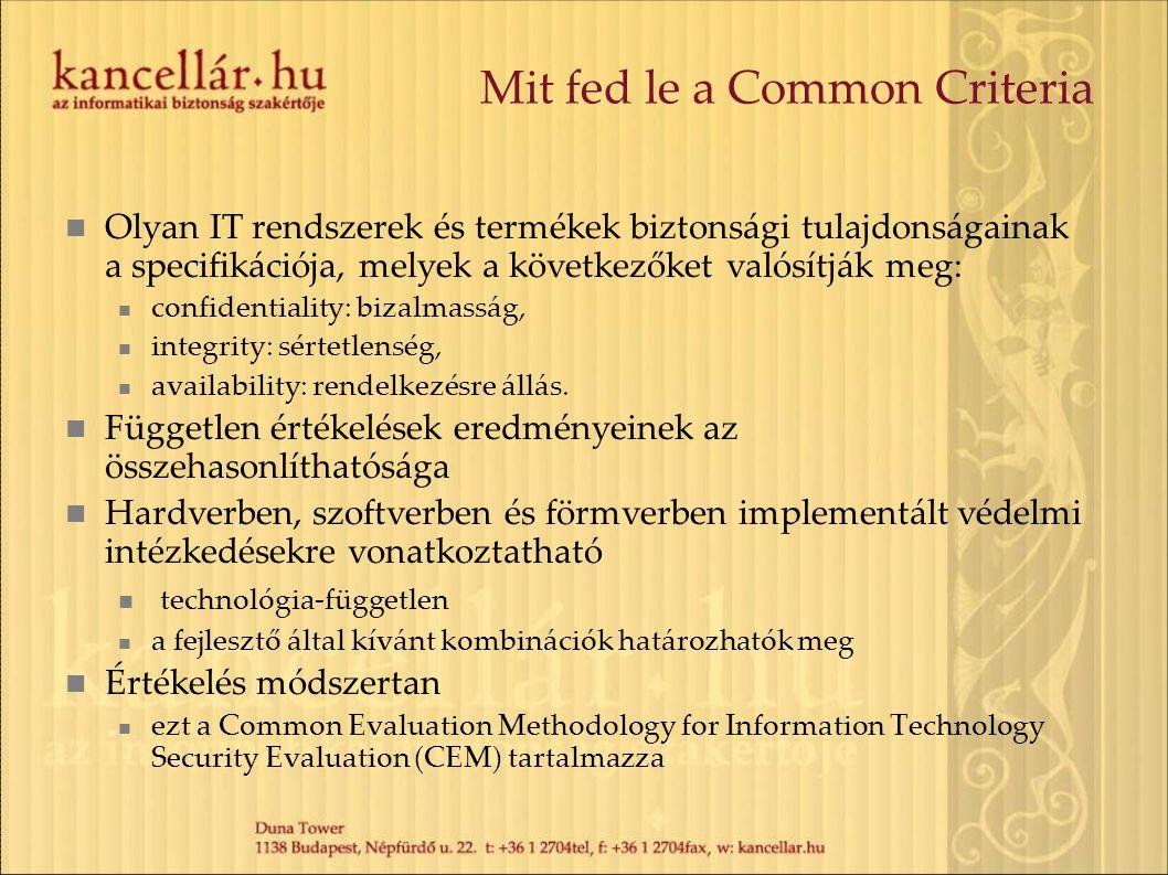 Mit fed le a Common Criteria Olyan IT rendszerek és termékek biztonsági tulajdonságainak a specifikációja, melyek a következőket valósítják meg: confi