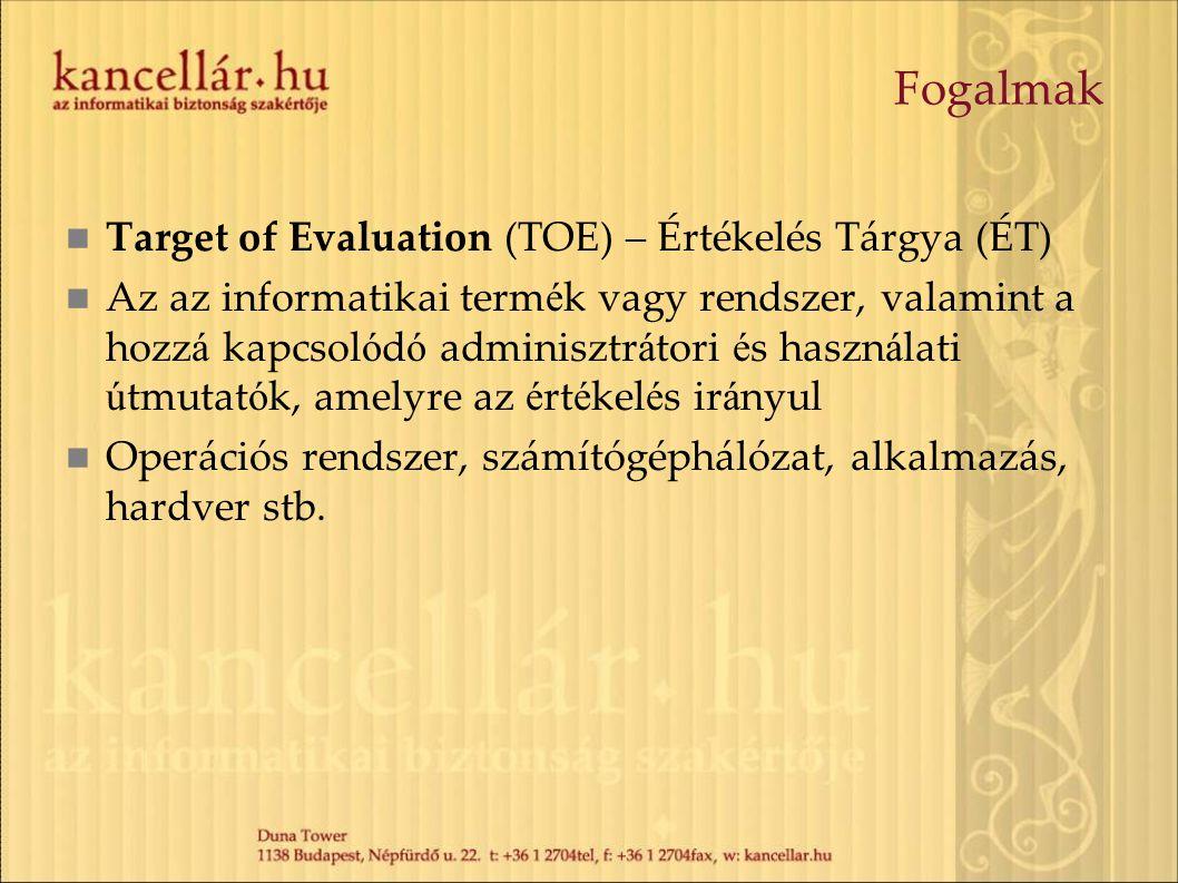 Fogalmak Target of Evaluation (TOE) – Értékelés Tárgya (ÉT) Az az informatikai term é k vagy rendszer, valamint a hozz á kapcsol ó d ó adminisztr á to