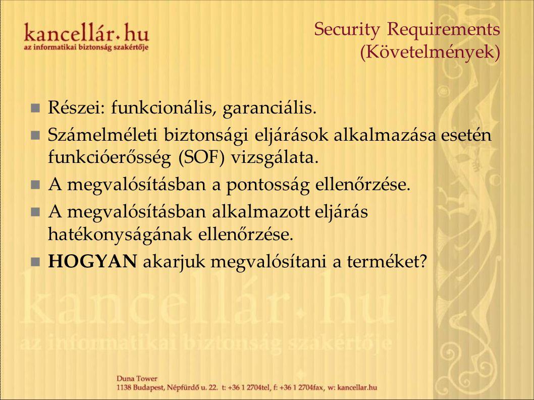 Security Requirements (Követelmények) Részei: funkcionális, garanciális. Számelméleti biztonsági eljárások alkalmazása esetén funkcióerősség (SOF) viz