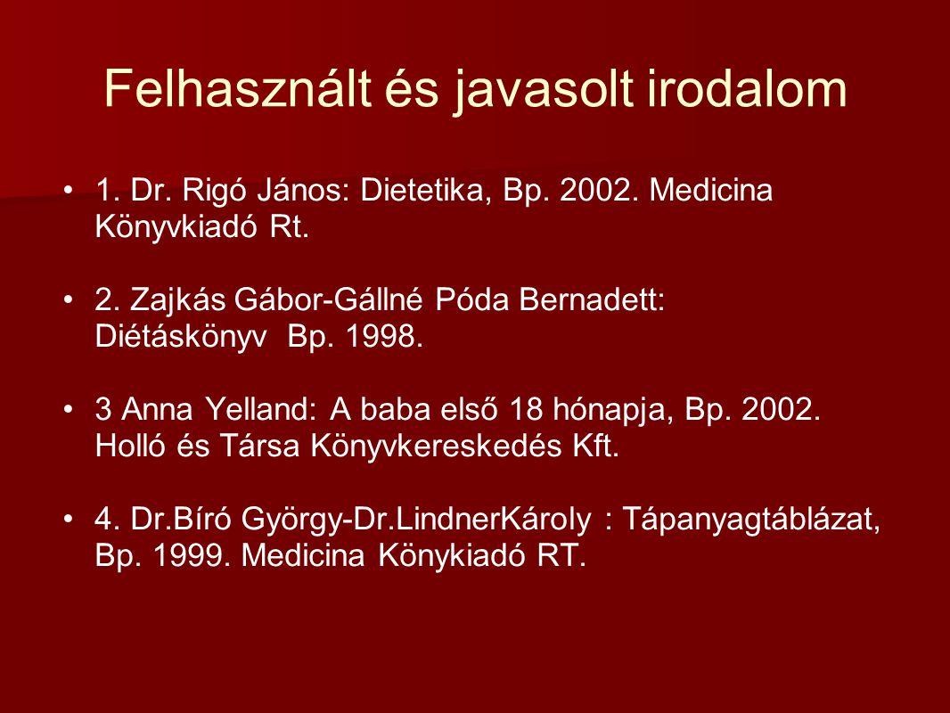 Felhasznált és javasolt irodalom 1. Dr. Rigó János: Dietetika, Bp. 2002. Medicina Könyvkiadó Rt. 2. Zajkás Gábor-Gállné Póda Bernadett: Diétáskönyv Bp